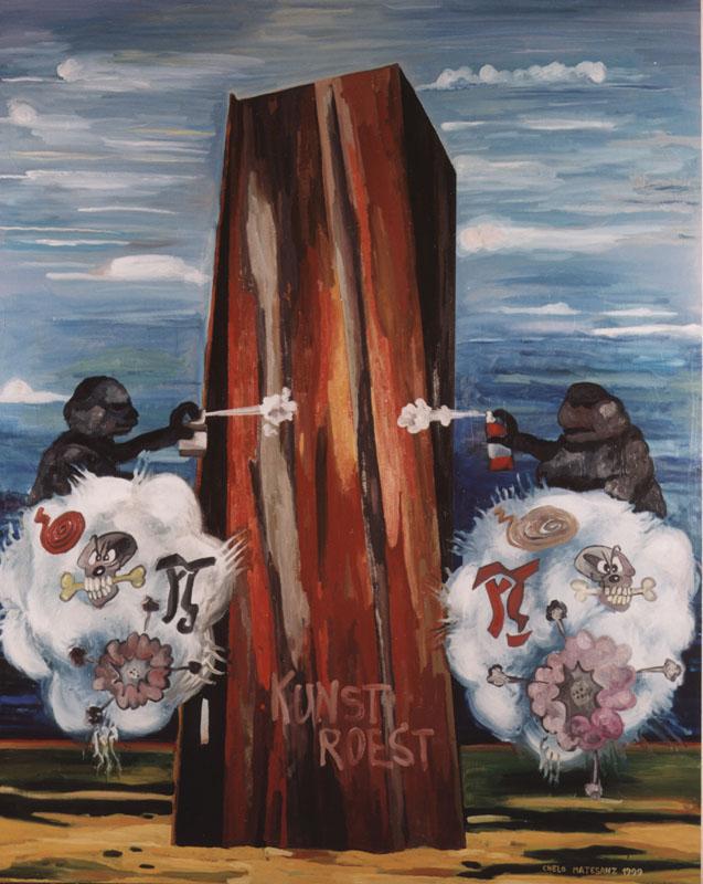Arte corregido II, 1999. Óleo sobre lino, 240 X 200 cm.