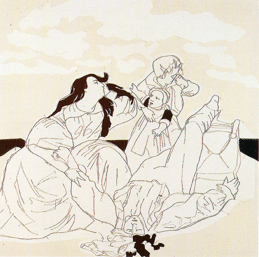 La pedrada, 1994. Pespunte cosido sobre tela 180 x 180 cm.