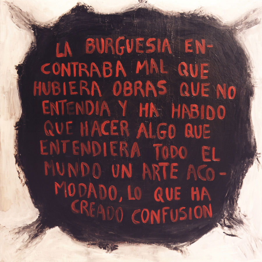 Aerolito negro, 1999. Óleo sobre lienzo. 135 x 135 cm