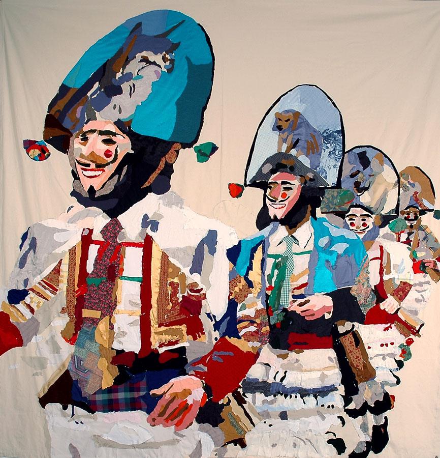 Peliqueiros, 2007. Pespunte sobre loneta. 300 x 300 cm. Cortesía de la Galería Adhoc. Vigo