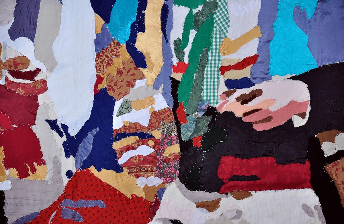 Peliqueiros, fragmento, 2007. Pespunte sobre loneta. 300 x 300 cm