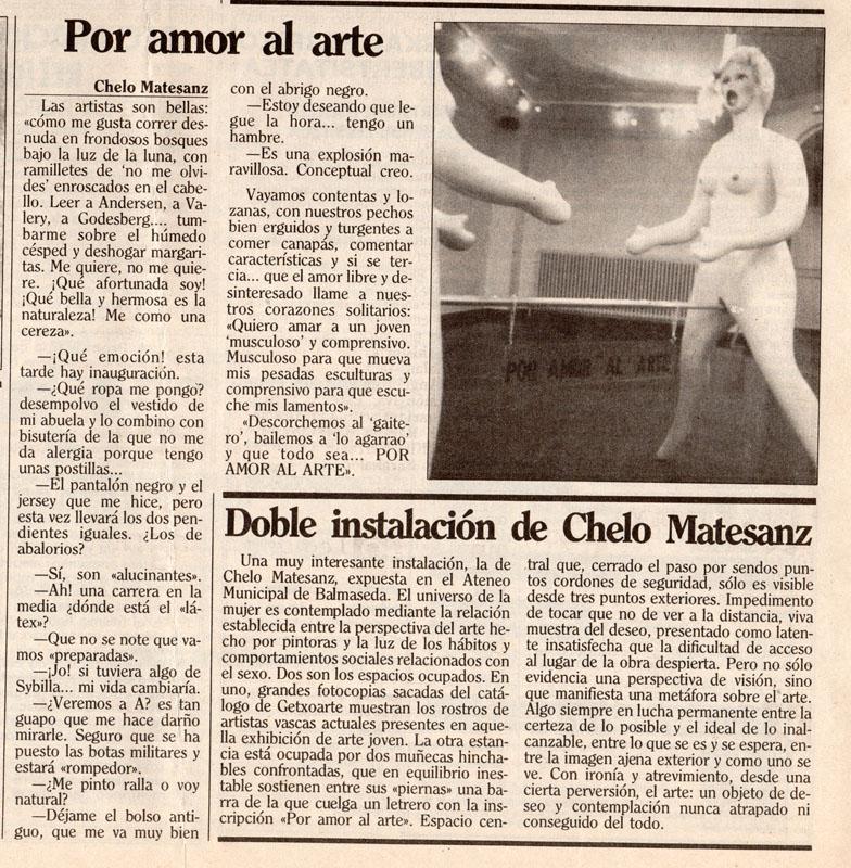 Por amor al arte, texto de Chelo Matesanz publicado en prensa. 1991
