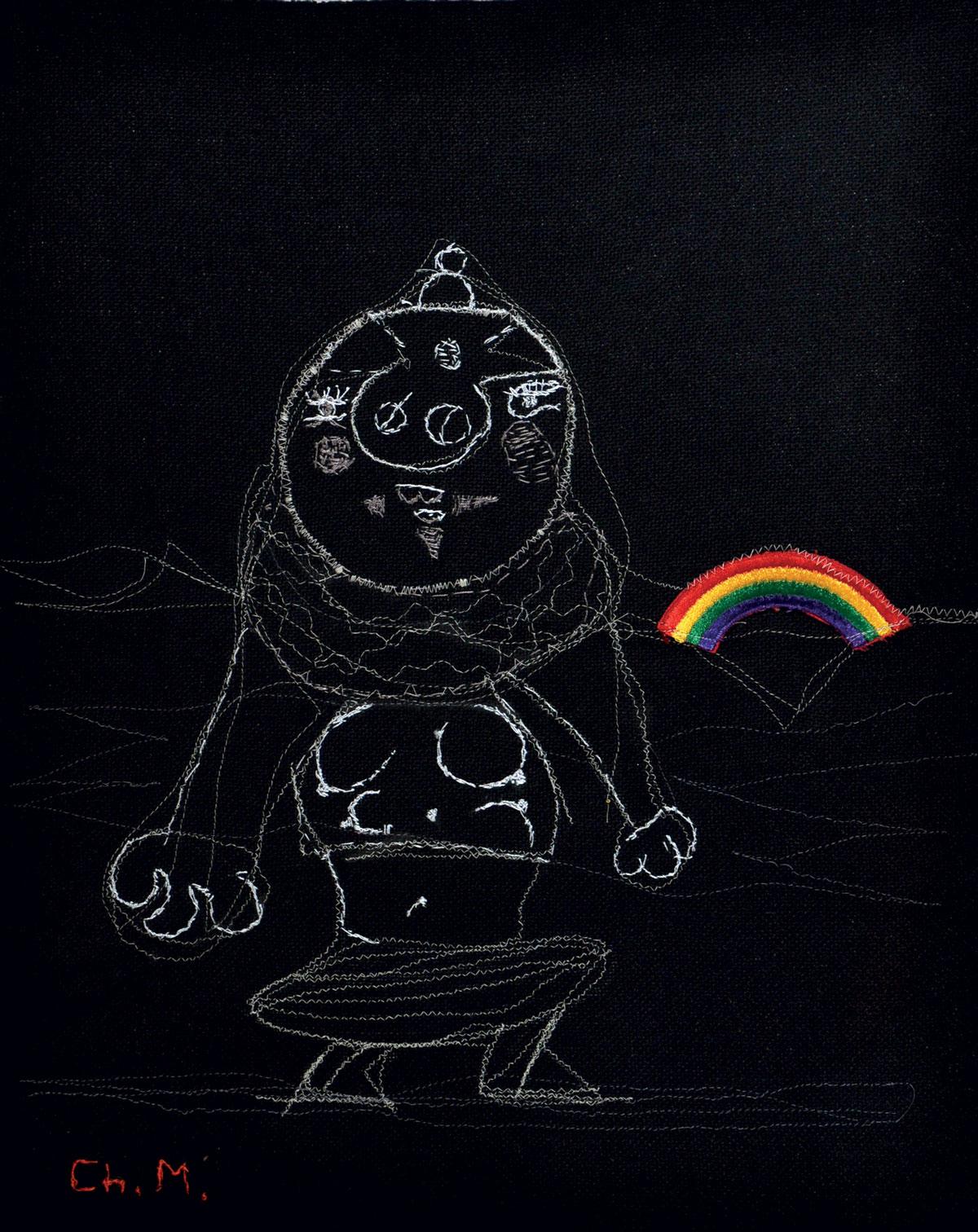 Sin título 2007. Pespunte sobre lino (50 x 43 cm)