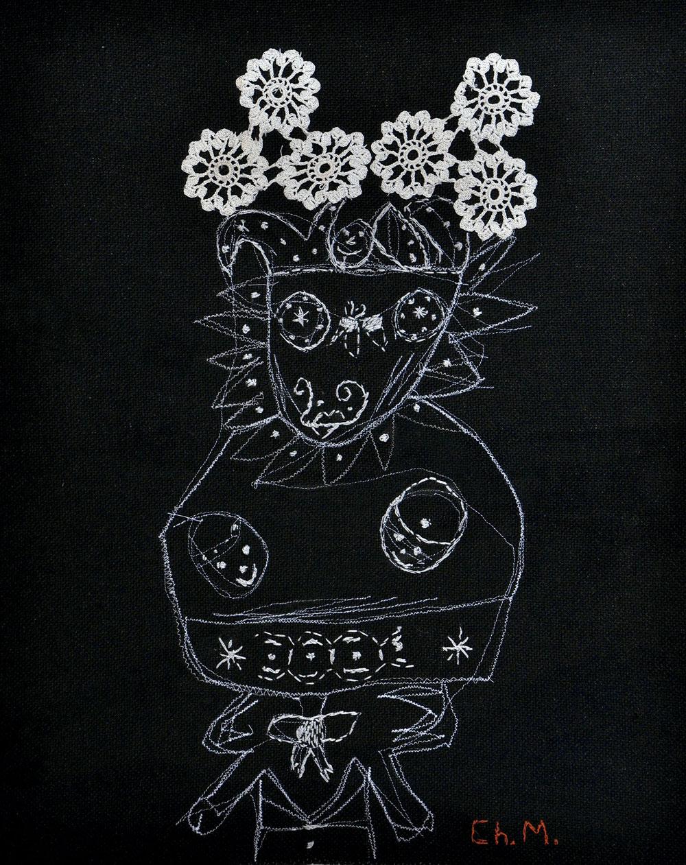 Sin título, 2007. Pespunte sobre lino (50 x 47 cm)