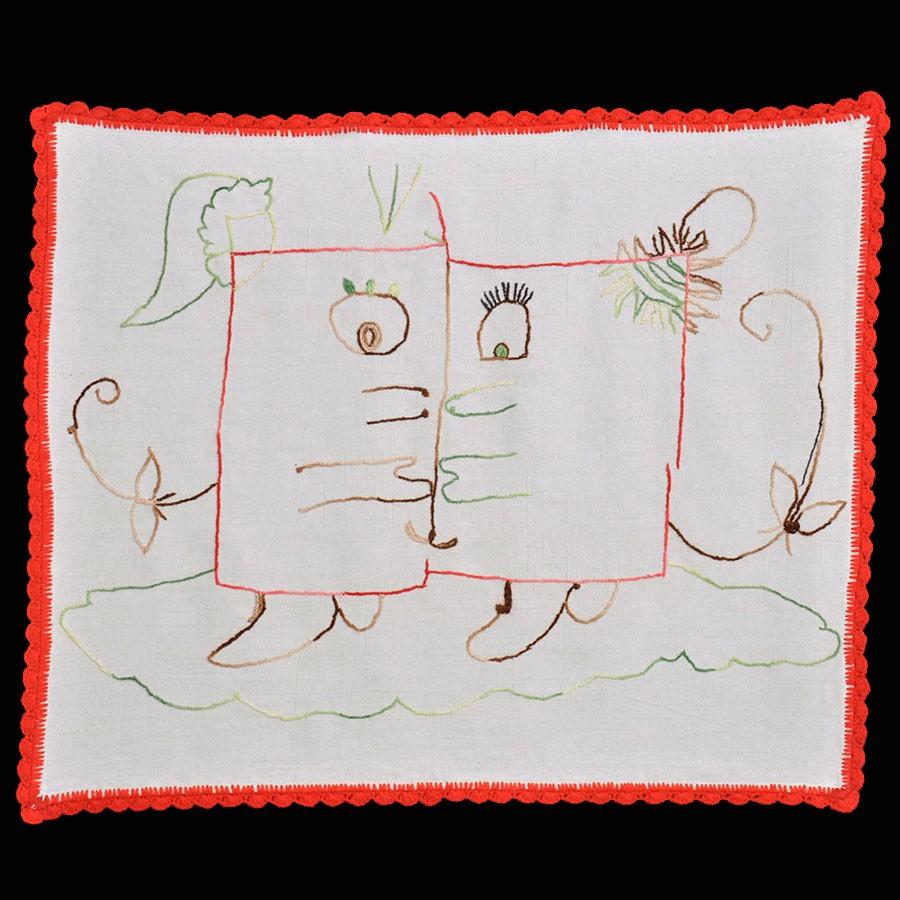 El beso, 2008. Bordado sobre lino. 78 X 64 cm