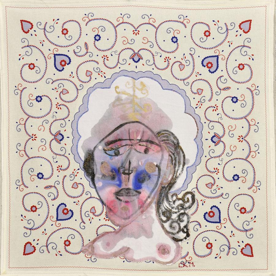 Con cresta, pero sin alas, 2007. Tela y pintura. 70 X 70 cm