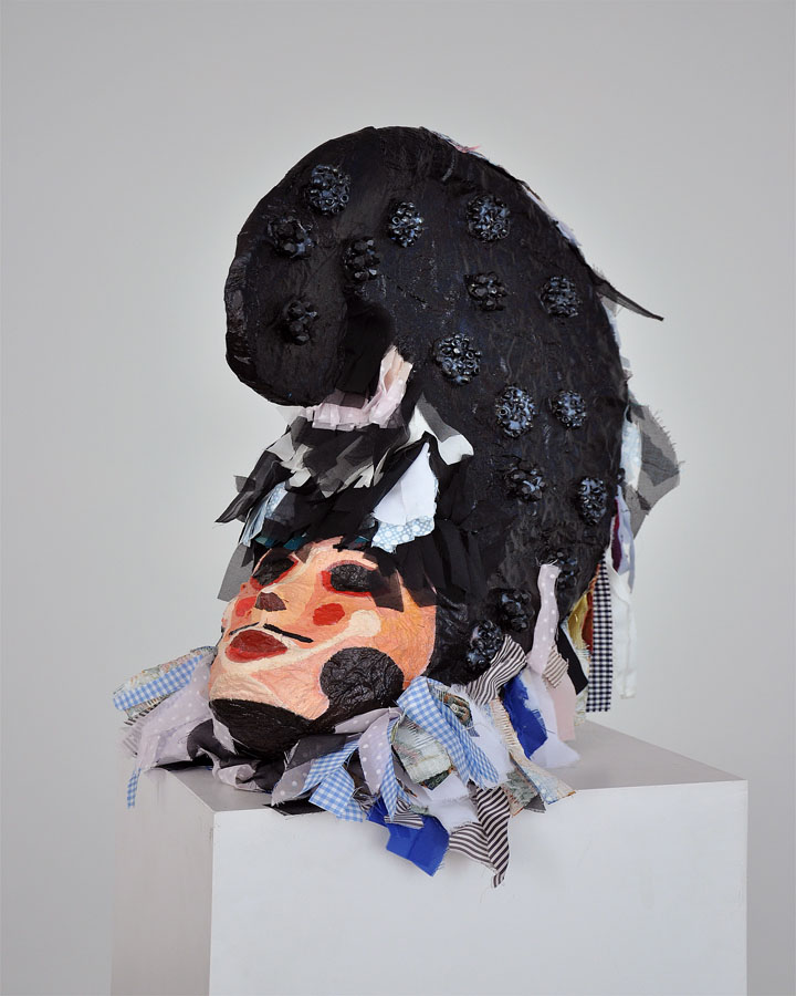 Un gallo sin plumas, 2008. Tela, madera y pintura. 56 x 50 x 23 cm