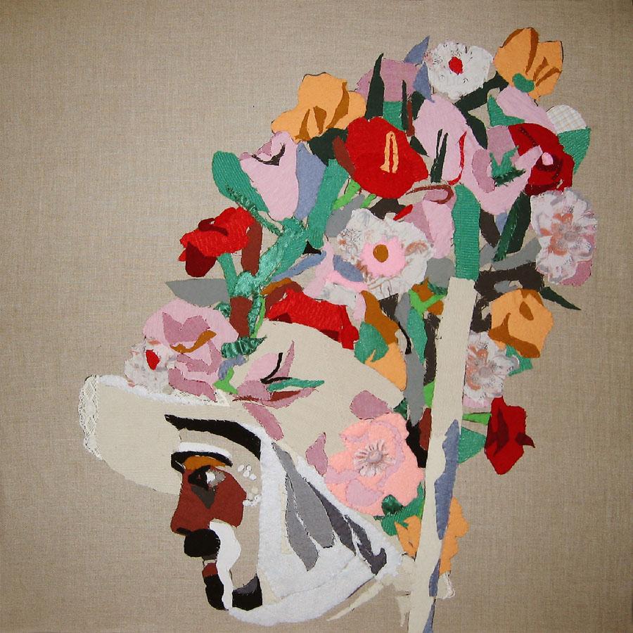 Zamarrón I, 2006. Pespunte sobre lino. 90 X 90 cm copia