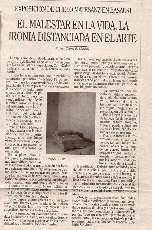 Crítica de Xabier Sáenz de Gorbea a la exposición, Dolor y placer de Chelo Matesanz