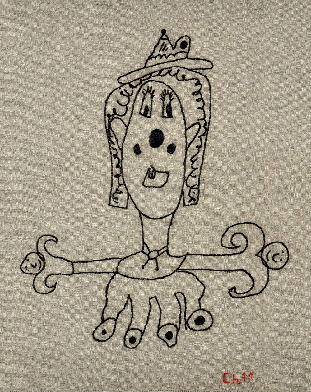 Sin título, 2007. pespunte sobre lino (50 x 43 cm) 2
