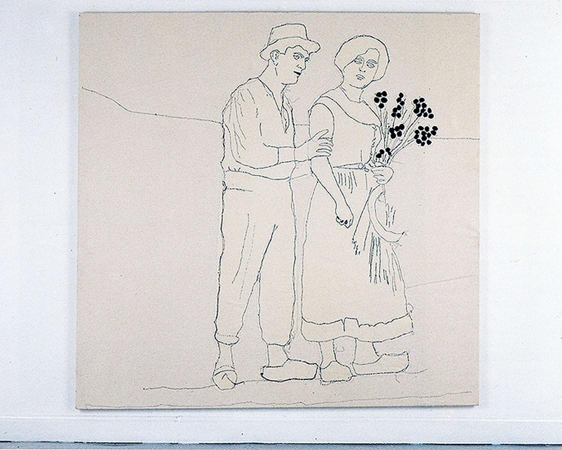 Las tentaciones de Apolo, 1994.Pespunte cosido sobre tela 180 x 180 cm.