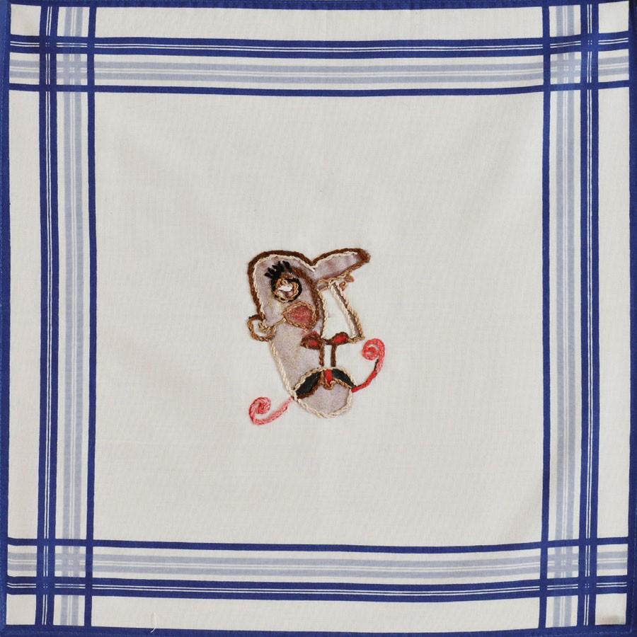 Caballero, 2008. Bordado sobre tela. 39 X 40 cm