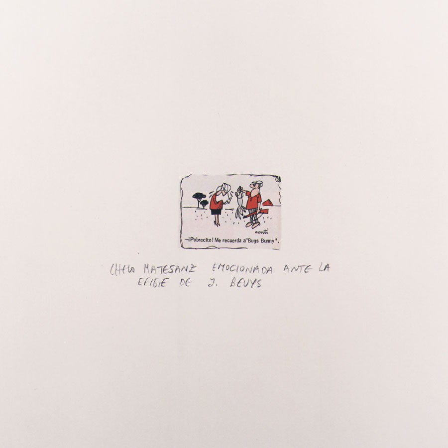 Chelo Matesanz emocionada ante la efigie de Joseph Beuys, 1999 Collage