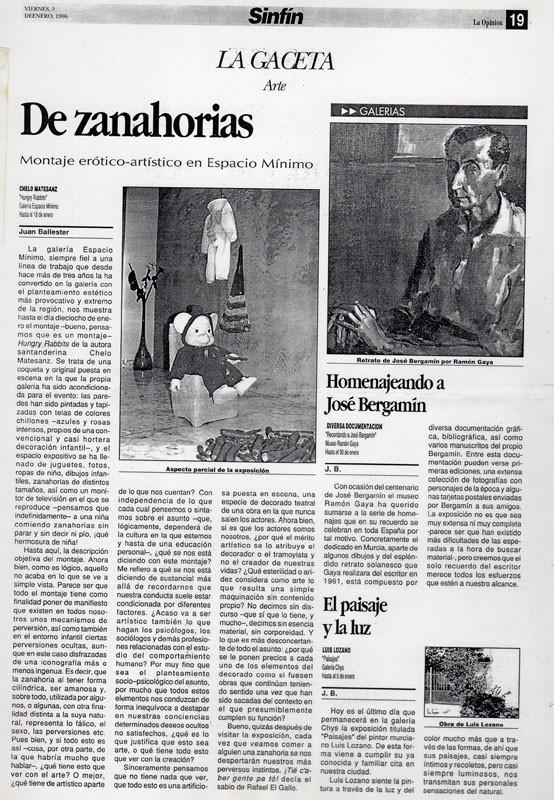 Crítica de Juan Ballester en la Opinión, exposición en EM, 1996